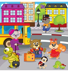 Animals in city come by bus vector