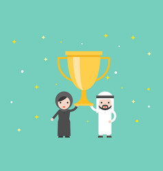 Arab businessman and woman holding big gold vector