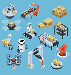 Automatic logistics delivery isometric icons vector