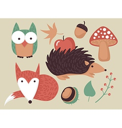 autumn forest set vector image