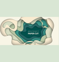 background with beige and green colors paper cut vector image