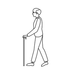 Bald man elderly walking with cane stick outline vector