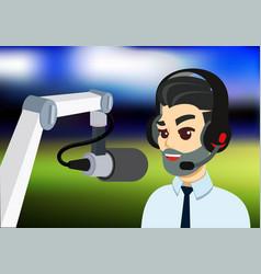 Bearded man with headphone and microphone radio vector