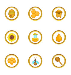 Beekeeper equipment icons set cartoon style vector