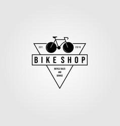 Bicycle bike shop logo triangle minimalist vector