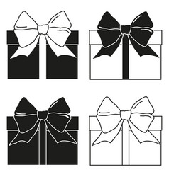 black and white gift box silhouette set vector image