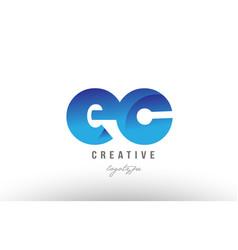 Blue gradient ec e c alphabet letter logo vector
