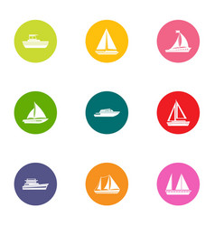 Boat parking icons set flat style vector