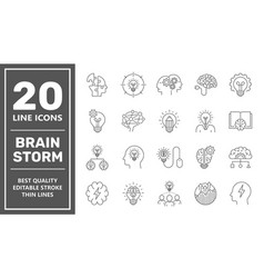 brainstorming line icons set brain creativity vector image