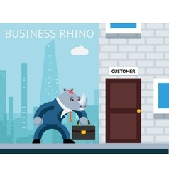 Business rhino angry businessman vector