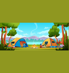 Camping hiking tents tourist equipment on nature vector