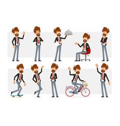 Cartoon flat funny bearded man character set vector