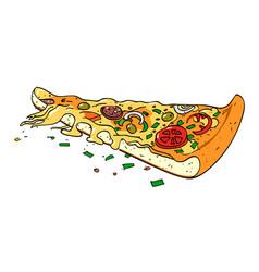 Cartoon image of pizza slice vector