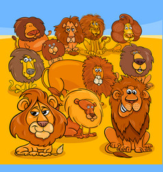 cartoon lions animal characters group vector image