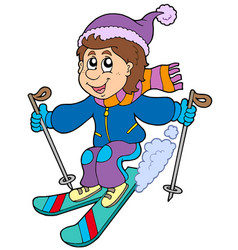 cartoon skiing boy vector image