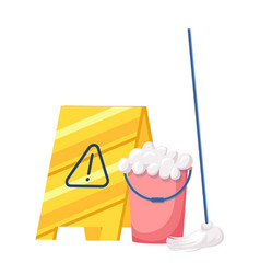 Cleaning service equipment bucket with soap foam vector