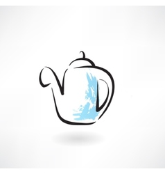 Coffee pot grunge icon vector
