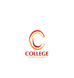 College learning letter c icon vector