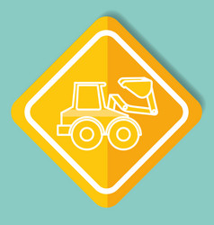 construction sign bulldozer machinery image vector image