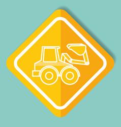 Construction sign bulldozer machinery image vector