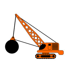 Crane with wrecking ball isolated construction vector