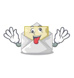 Crazy envelope opened on shape white mascot vector