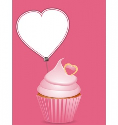 Cupcake and heart shaped label vector