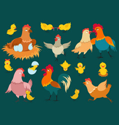 cute cartoon characters chicken set vector image