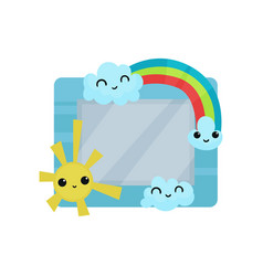 Cute photo frame with sun rainbow and clouds vector