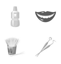 dental sterile liquid in the jar lips teeth vector image