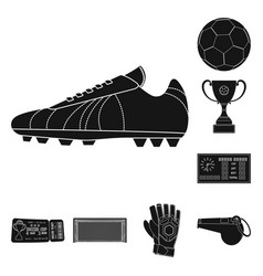 Design of soccer and gear symbol set of vector