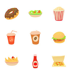 Different fast food icons set cartoon style vector