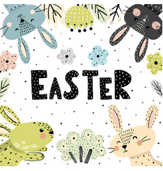 easter poster or card with cute bunnies vector image