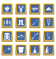 fishing tools icons set blue vector image