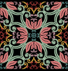 floral ethnic style embroidery seamless pattern vector image