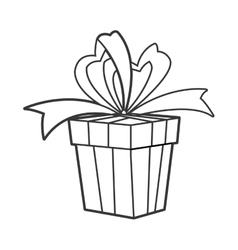 Gift with bow icon vector