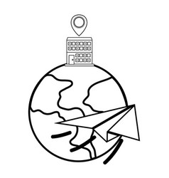 Globe with building vector