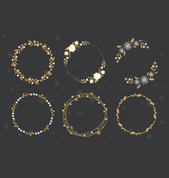 golden luxury christmas round wreath frame vector image