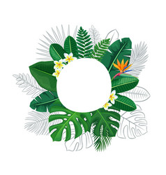 green tropical leaves and flowers circle frame vector image