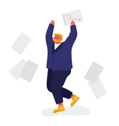 happy businessman throw out pile office papers vector image
