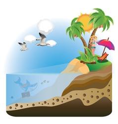 Happy Girl on Island2 vector image