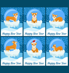 happy new year posters with corgi in glass bubble vector image