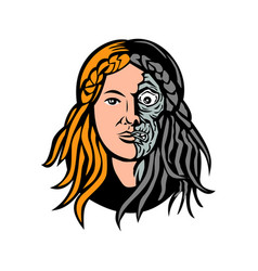 Hel norse goddess of death head retro vector
