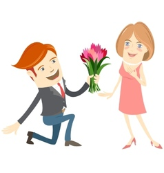 Hipster funny man kneeling giving flowers to the vector image