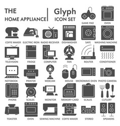 home appliance signed glyph icon set household vector image