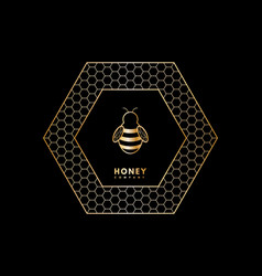 Honey logo with gold gradient honey bee in vector