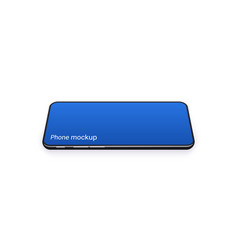 horizontal phone mockup with blue empty screen vector image