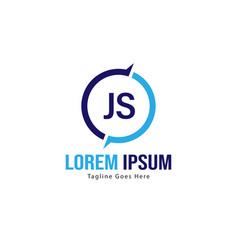 Initial js logo template with modern frame vector