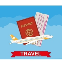 Jet airliner passport boarding pass ticket vector image