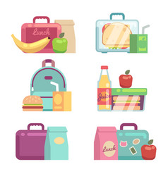 kids snacks school lunch boxes set vector image